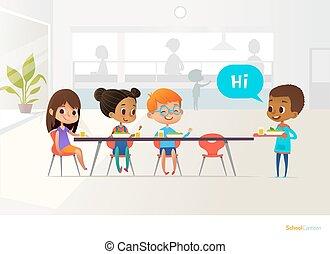 pupila, novo, alimento, escola, fazer, crianças, vetorial, site web, ilustração, saudação, carregar, lunch., sentando, canteen., tabela, bandeira, flyer., concept., bandeja, cartaz, tendo, amigos, colegas