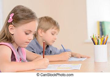 pupilas, diligente, learners., notepad, jovem, escrita,...