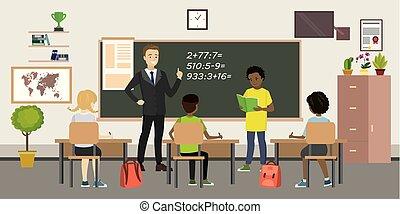 pupilas, interior, lição, professor, sala, escola
