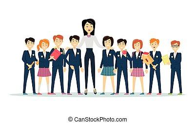 pupilas, jovem, dia, professores, professor, celebration.