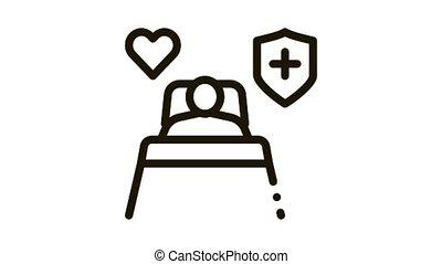 pupille, animation, hôpital, maladie, icône, humain
