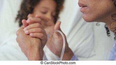 pupille, elle, africaine, mains, mère, tenue, américain,...