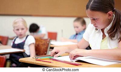 pupille, elle, cahier, écriture