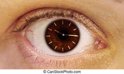 pupille, mains, femme, horloge, doré, macro, oeil, figure