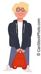 pupille, tenue, cartable, portant lunettes, écolier, vecteur, hipster