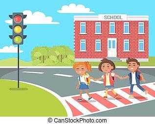 pupillen, nach, fußgänger, klassen, gehen, überfahrt, daheim