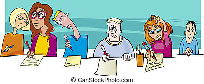 Pupils and Difficult Test Exam - Cartoon Illustration of...