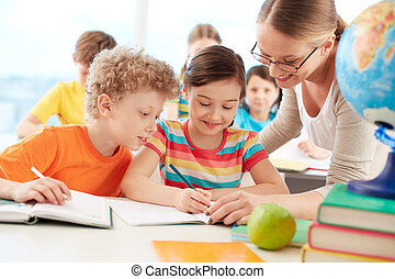 Pupils at lesson - Portrait of diligent schoolgirl drawing...