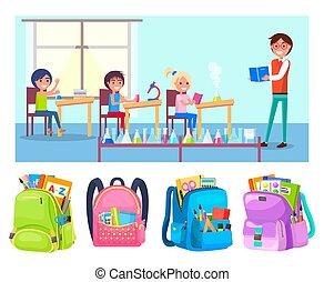 Pupils at School Lesson, Teacher Chemistry Flasks - Children...