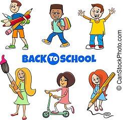 pupils children back to school cartoon illustration