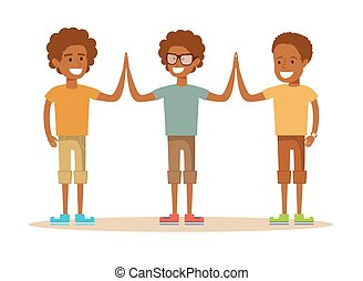 Three Young African American boy giving each other a high five. Cartoon character illustration Isolated on white background. Stock vector for poster, greeting card, website, ad.