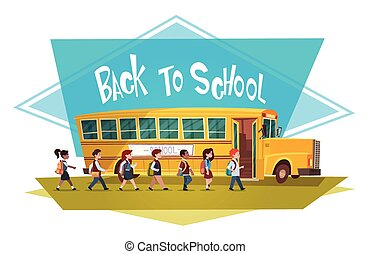 Pupils Group Walking To Yellow Bus Riding Back To School 1 September