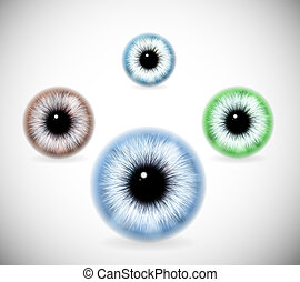 Pupils of different colors - Realistic image of pupil eye...