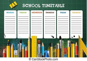 pupils., skola, illustration., deltagare, vektor, mall, tidtabell, eller