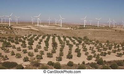 puppe, zoom, aus, windmühle bauernhof, und, bäume