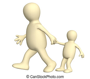 Puppet - adult, pulling for a hand of the small child. Over...