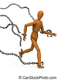 Puppet broke chains to freedom - 3D model of puppet conquer...