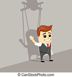 Puppet businessman. Businessman marionette on ropes controlled hand.
