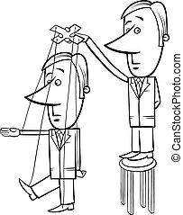 puppet businessman cartoon illustration - Black and White...