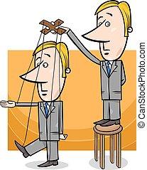 puppet businessman concept cartoon - Concept Cartoon...