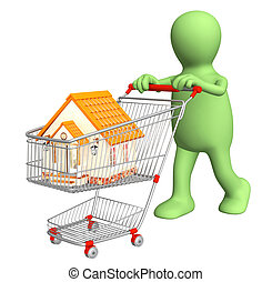 3d puppet - buyer, bought the house. Isolated over white