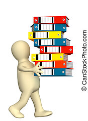 Puppet, carrying folders - 3d puppet, carrying folders with ...
