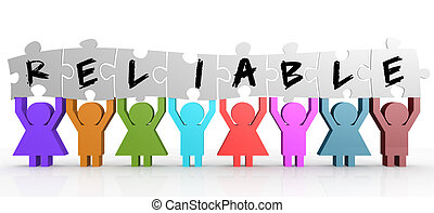 Puppet hold puzzle with reliable word on it image with hi-...