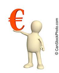 Puppet, holding euro symbol