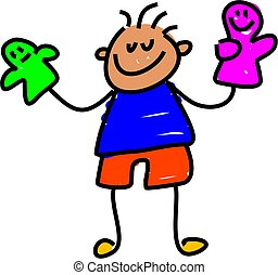 little boy playing with hand puppets - toddler art series