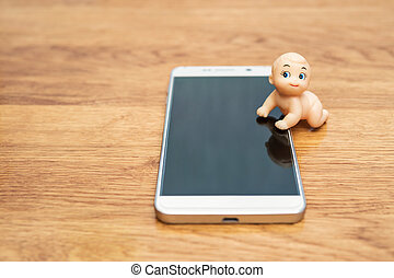 Puppet kid on the smartphone