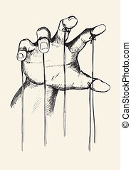 Puppet Master - Sketch illustration of puppet master hand
