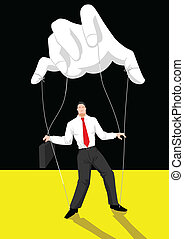 Illustration of a puppet master controlling a businessman