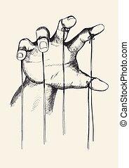 Puppet Master - Sketch illustration of puppet master hand