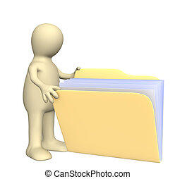 3d puppet, opening folder with documents. Object over white