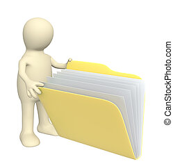 Puppet, opening folder with documents - 3d puppet, opening...