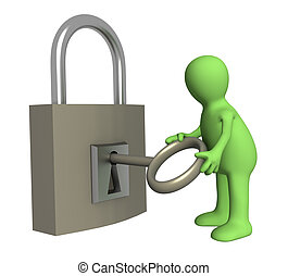 Puppet opening lock - Person puppet opening lock by a key....