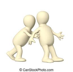 3d puppet, pushing partner - over white