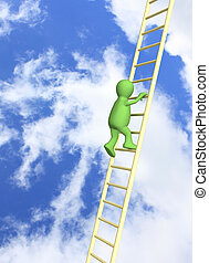 Puppet, rising on ladder - 3d person - puppet, rising...
