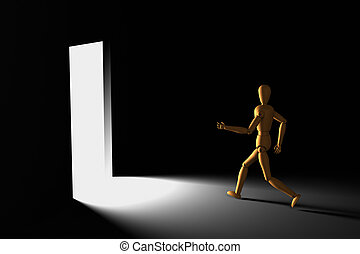 Puppet running to bright - 3D model of puppet running out of...