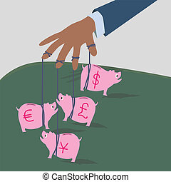 Pink saving bank pigs under puppet hand, a concept illustrated for money currents control.