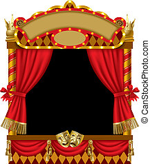Puppet show booth - Vector image of the illuminated puppet...