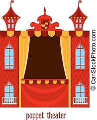 Puppet show. Illustration of children's puppet theater on a white background. Cartoon vector a puppet theater. Stock vector