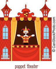 Puppet show. Illustration of children's puppet theater with a doll clown on a white