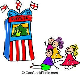 puppet show - little kids watching a puppet show - toddler...