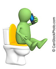 Puppet, sitting with a phone on toilet bowl - 3d puppet, ...