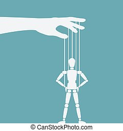 puppet standing with hands on hips. vector illustration - eps 8