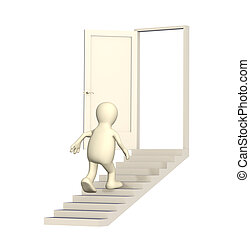 Puppet walking upstairs to an open door