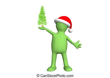 Puppet with Christmas tree. Alpha channel is included