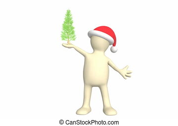 Puppet with Christmas tree