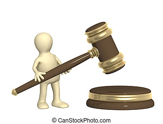 Puppet with judicial gavel - 3d puppet with judicial gavel....